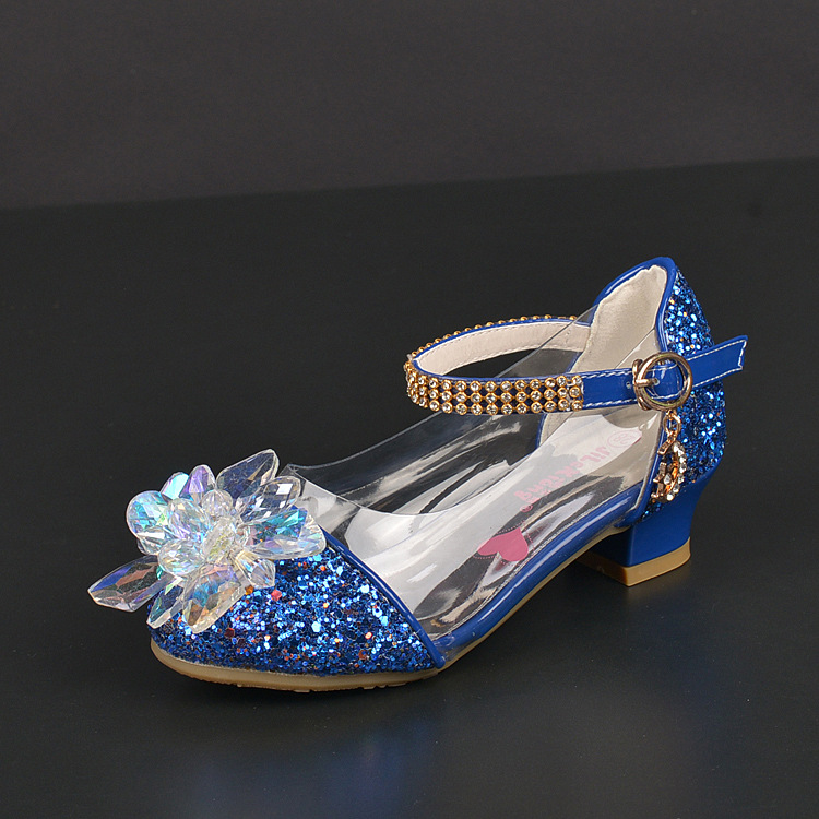 2018 New Girls Single shoes Korean Child Princess Crystal Glass Child High heels Student Banquet Performance shoes Size 26-37