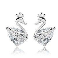 925 Sterling Silver Jewelry Earrings Korean Korean Swan Vintage Jewelry Crystal Earrings Wholesale Generation 2015 D12