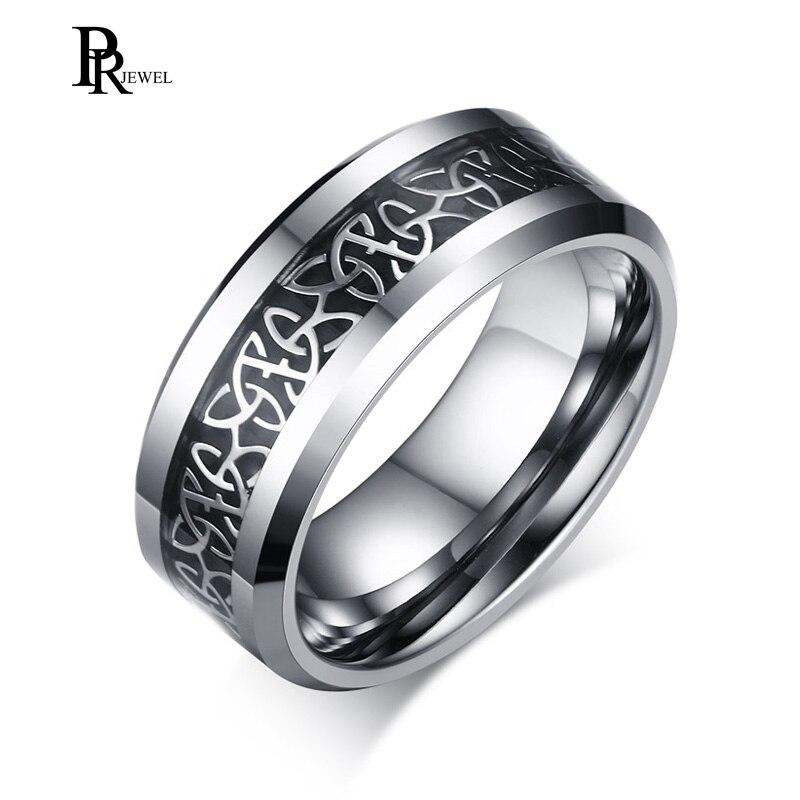 Для мужчин Вольфрам карбида кольцо обручальное 8 мм Серебряный кельтский дракон декор польская отделка ...