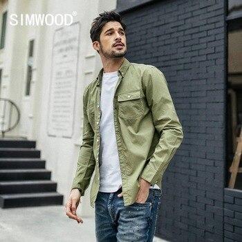 SIMWOOD New 2019 Spring Casual Shirts Men Slim 100% Cotton Shirt Male Fashion Long Sleeve Brand Clothing chemise homme 190039