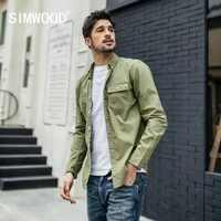 SIMWOOD 新 2019 秋カジュアルシャツ男性スリム綿 100% シャツ男性ファッション長袖ブランド服シュミーズオム 190039