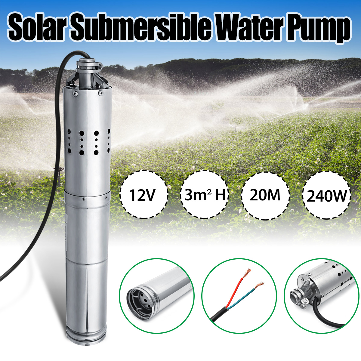 Wolike DC 12V 3m3/h 20m Submersible Brushless Stainless Screw Solar Power Submersible Deep Well Water Pump w/Internal ControllerWolike DC 12V 3m3/h 20m Submersible Brushless Stainless Screw Solar Power Submersible Deep Well Water Pump w/Internal Controller