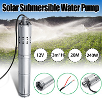 Wolike DC 12V 3m3/h 20m Submersible Brushless Stainless Screw Solar Power Submersible Deep Well Water Pump w/Internal Controller