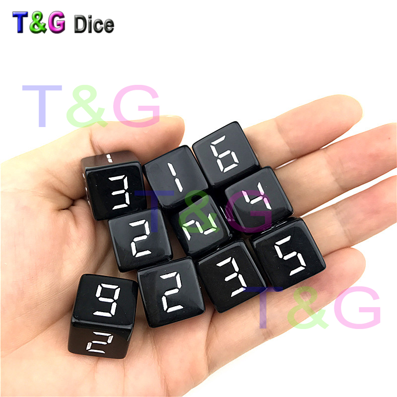 Wholesales 16mm 10pcs/set Acrylic Digital D6 Dice,6 Sided Cube For Poker Card Game