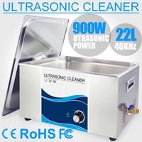 22L Ultra sonic Cleaner Brush Bath 900W Timer Knob Lab Car Motor Cylinder Engine Fuel Injector Medical Surgical Instrument