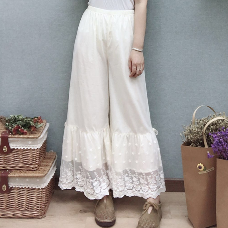 Mori Girl Lace Cotton Thin Loose   Pants   Women Solid   Wide     Legged     Pants   High Waist Floral Embroidery Female Ankle Length   Pants   Z033