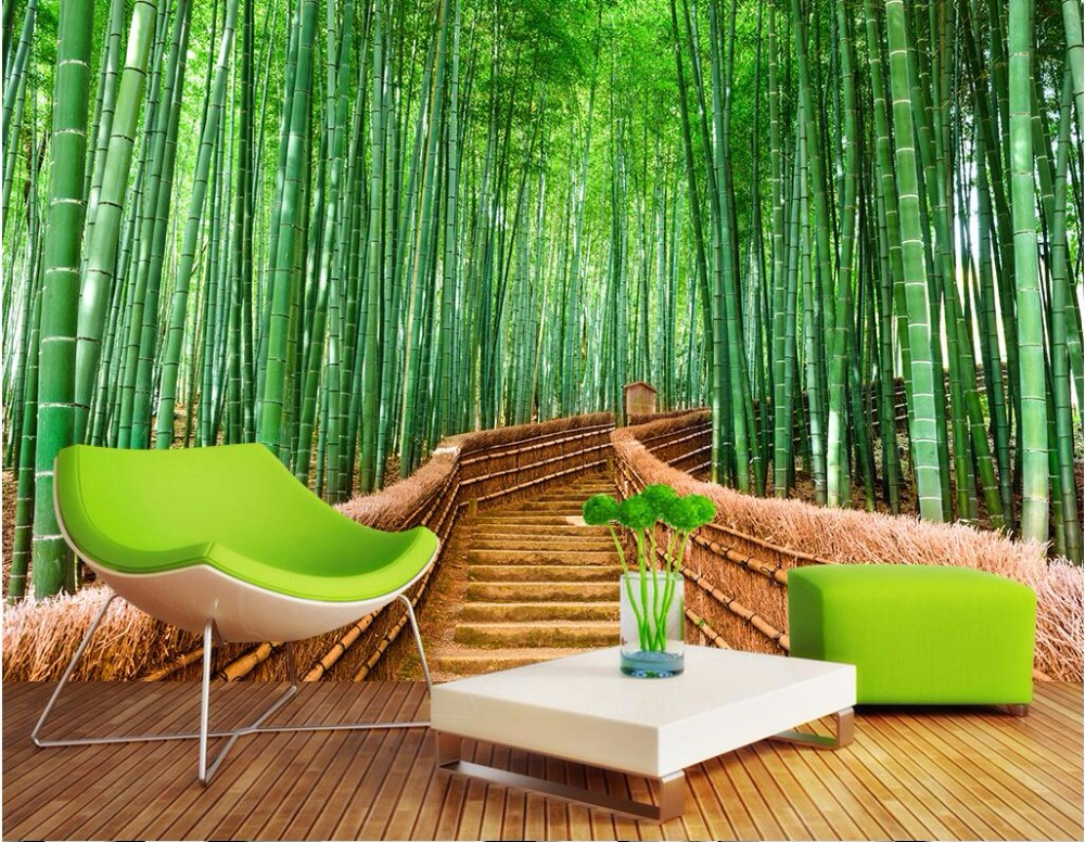 3d wall murals wallpaper for living room walls 3 d photo wallpaper bamboo forest road landscape. Black Bedroom Furniture Sets. Home Design Ideas