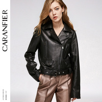 CARANFIER 2017 Women Genuine Leather Jacket Locomotive Short Top 100 Sheepskin Jacket Fashion Personality Leather Jackets