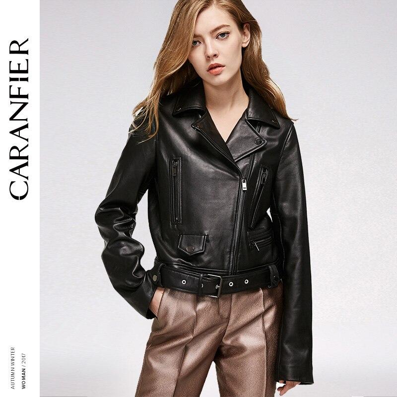 CARANFIER 2017 Women Genuine Leather Jacket Locomotive Short Top 100% Sheepskin Jacket Fashion personality Leather Jackets China