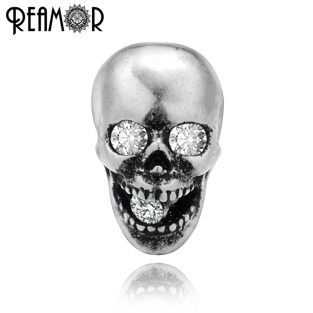 REAMOR Style Punk 5 pièces blanc cristal oeil squelette perles argent plaqué cuivre perles breloque pour bracelet à bricoler soi-même fabrication de bijoux