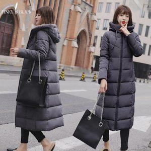 Image 3 - PinkyIsblack Chaqueta de Invierno para Mujer, Chaqueta acolchada de algodón larga con capucha gruesa, Parkas femeninas de talla grande 6XL, 2020