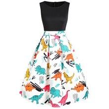 Новинка, женское платье с принтом динозавра, без рукавов, с круглым вырезом, летнее, пин-ап, Vestidos, рокабилли, винтажные вечерние платья, повседневные платья трапециевидной формы
