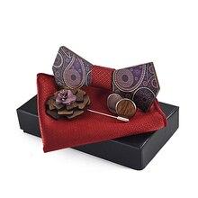 Men handmade British grace wooden bow tie sets Paisley brooch+wood cufflinks+bandana pocket square+wood bowtie wedding gifts set