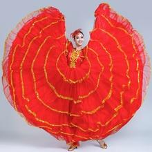 Современный цыганский стиль размера плюс, Женская испанская юбка для фламенко, костюмы для танца живота, платье с оборками, командное представление, DL3479