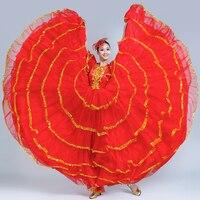 Modern Plus Size Gypsy Style Female Spanish Flamenco Skirt Performance Belly Dance Costumes Ruffle Dress Team Performance DL3479