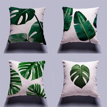 Tropical Plants Pillow Cover Cushion Case Green Leaf of Tropical Palm Telopea Monstera Ceriman Home Decoration Cushion Cover
