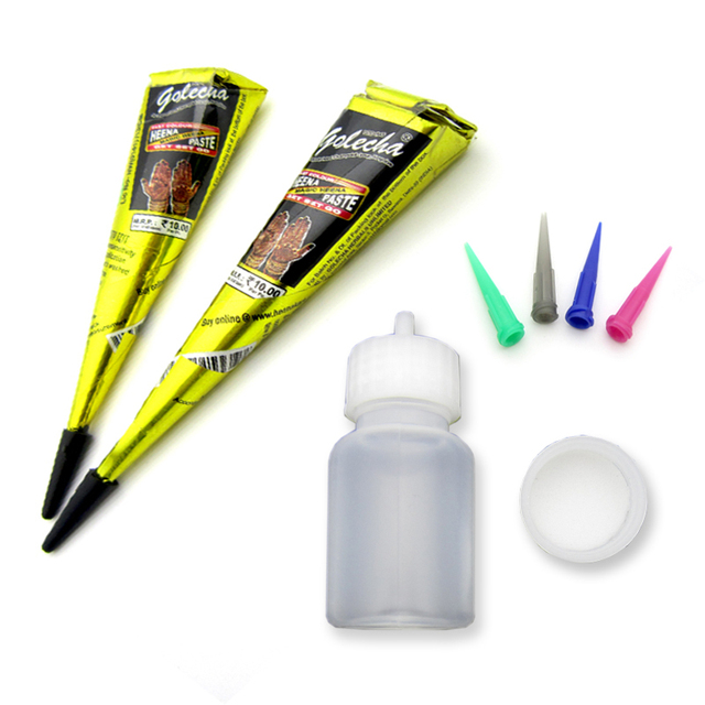 2 Pcs Golecha Hitam India Henna Tattoo Paste Cone Seni Tubuh Menndi
