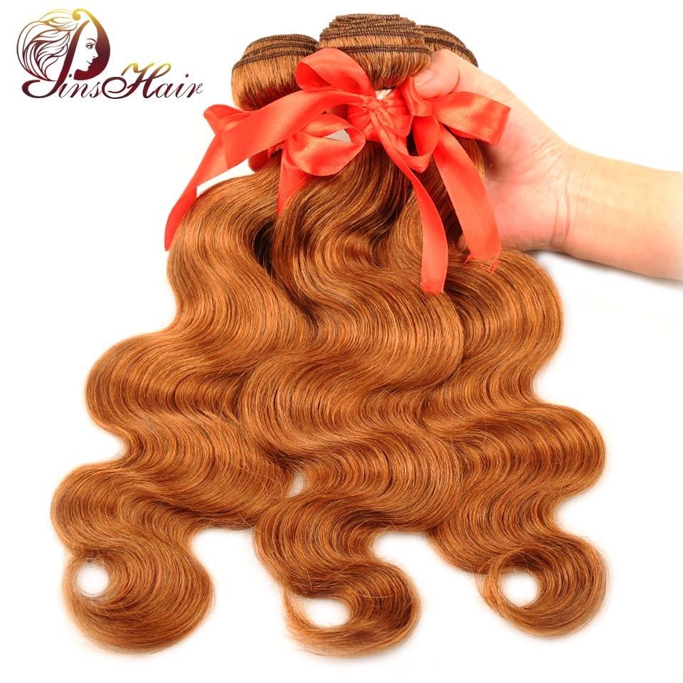 Pinshair Per-Colored Brazilian Hair Body Wave Bundles Red Brown 30 Human Hair Weave Extensions 3 Bundles 10-26 Inch Nonremy Hair