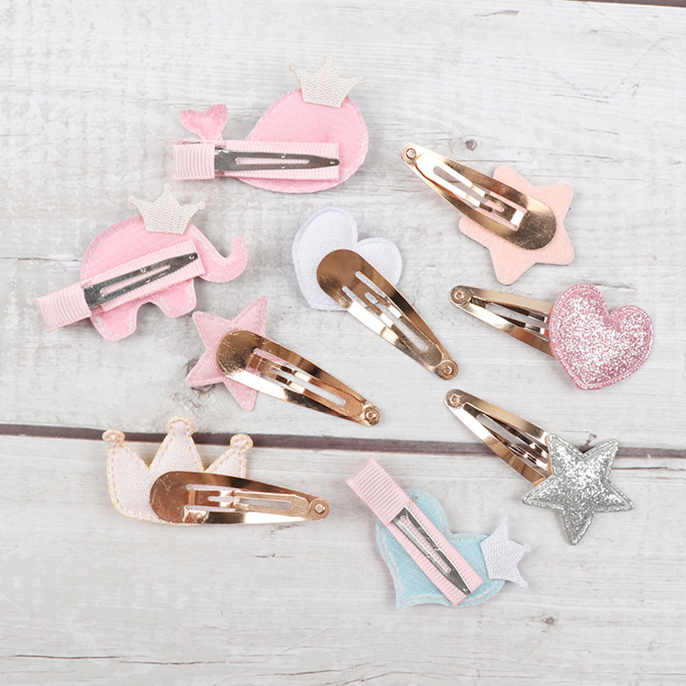 CN 6Pcs/lot Hair Accessories Cartoon Glitter Hair Clips For Girls Princess BB Hairpins Baby Korean Hair Barrettes