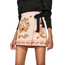 Новые Цветочные Вышивка Шорты Юбки Женщин 2017 Летняя Мода Симпатичные Пояса Шорты Женщин Элегантные Старинные Шорты Женские Дамы