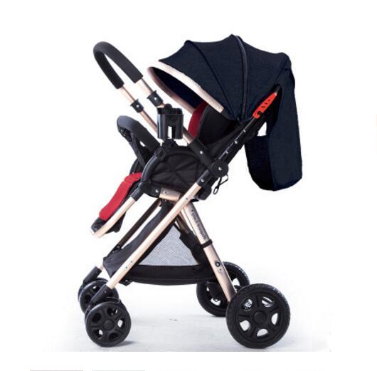 2019 haute paysage poussette légère pliante à quatre roues chariot peut s'asseoir inclinable bébé poussette bidirectionnelle bébé voiture en aluminium