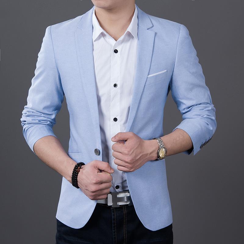 ab15fae3010 Men blazer Long sleeve Slim fit oxford new coat Suit Jacket plus ...
