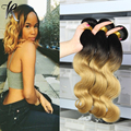 Grade 7A Ombre Brazilian Body Wave 1B/27 Ombre Brazilian Human Hair Weave Bundle 4 Bundles Ombre 2 Tone Brazilian Hair Body Wave