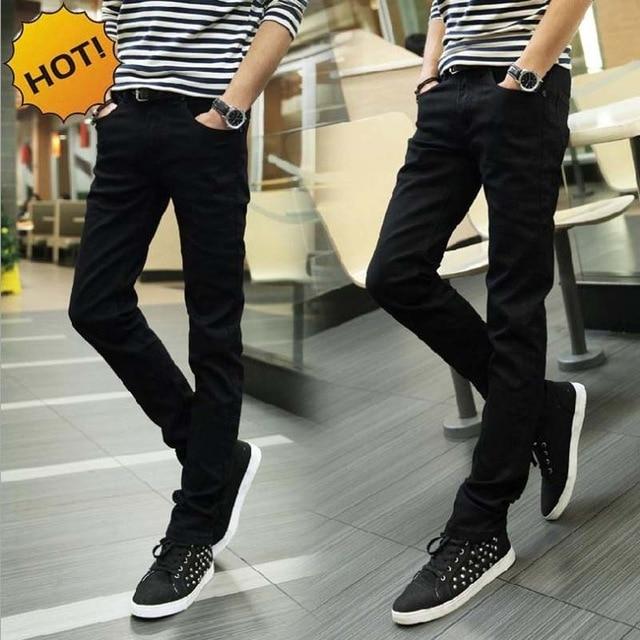 Solid Design Boys Casual Long Pants Jeans Men color: Black