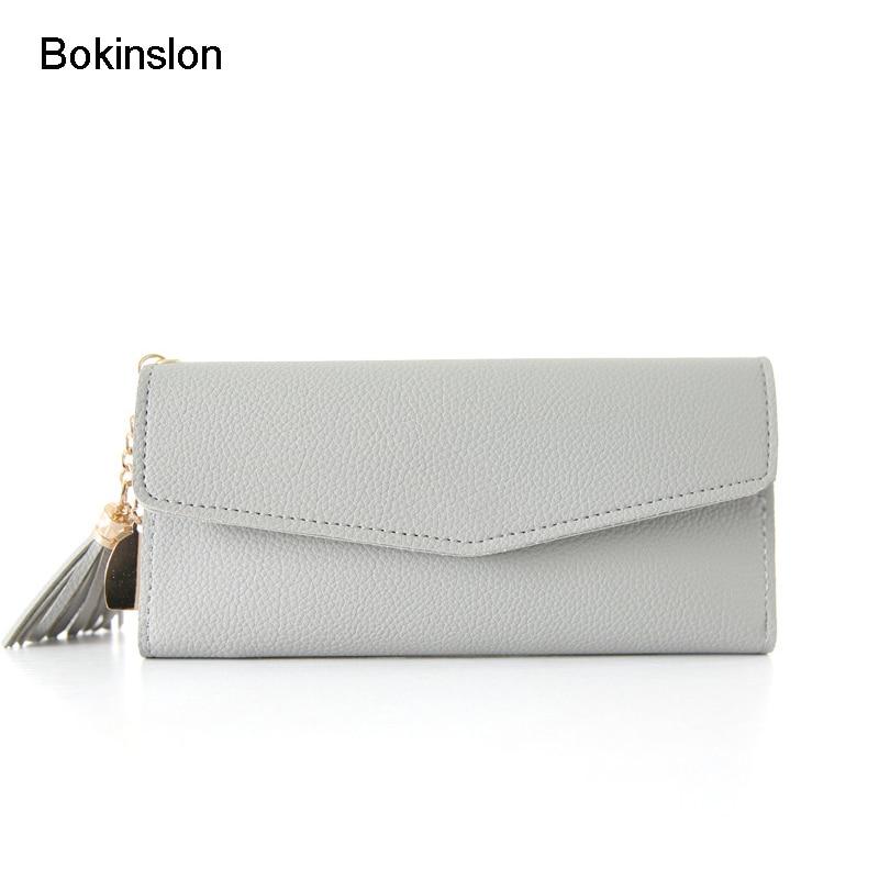 Bokinslon Long Section Wallet Woman PU Ls