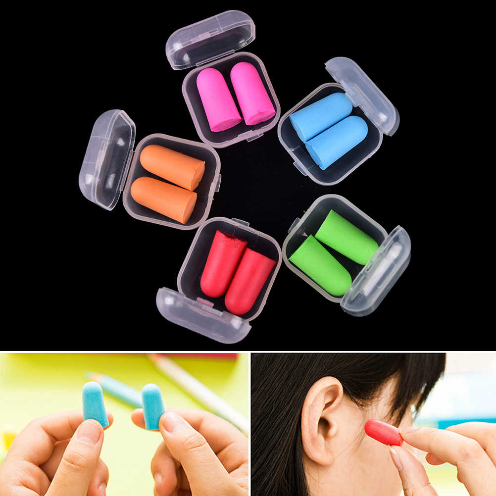 2Pcs Anti-noise Soft Ear Plugs Sound Insulation Ear Protection Earplugs Sleeping Plugs For Travel Noise Reduction With Case