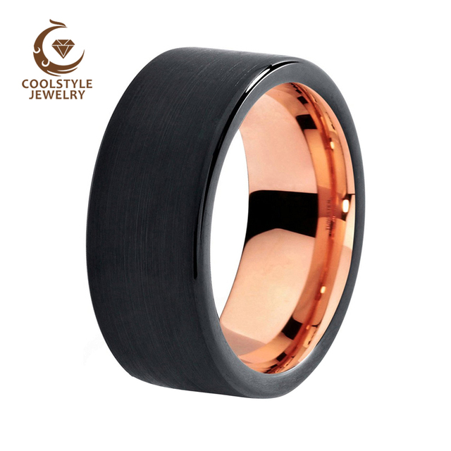 8mm Mens Wedding Band Brushed Black Tungsten Ring Rose Gold Flat Edge Comfort Fit