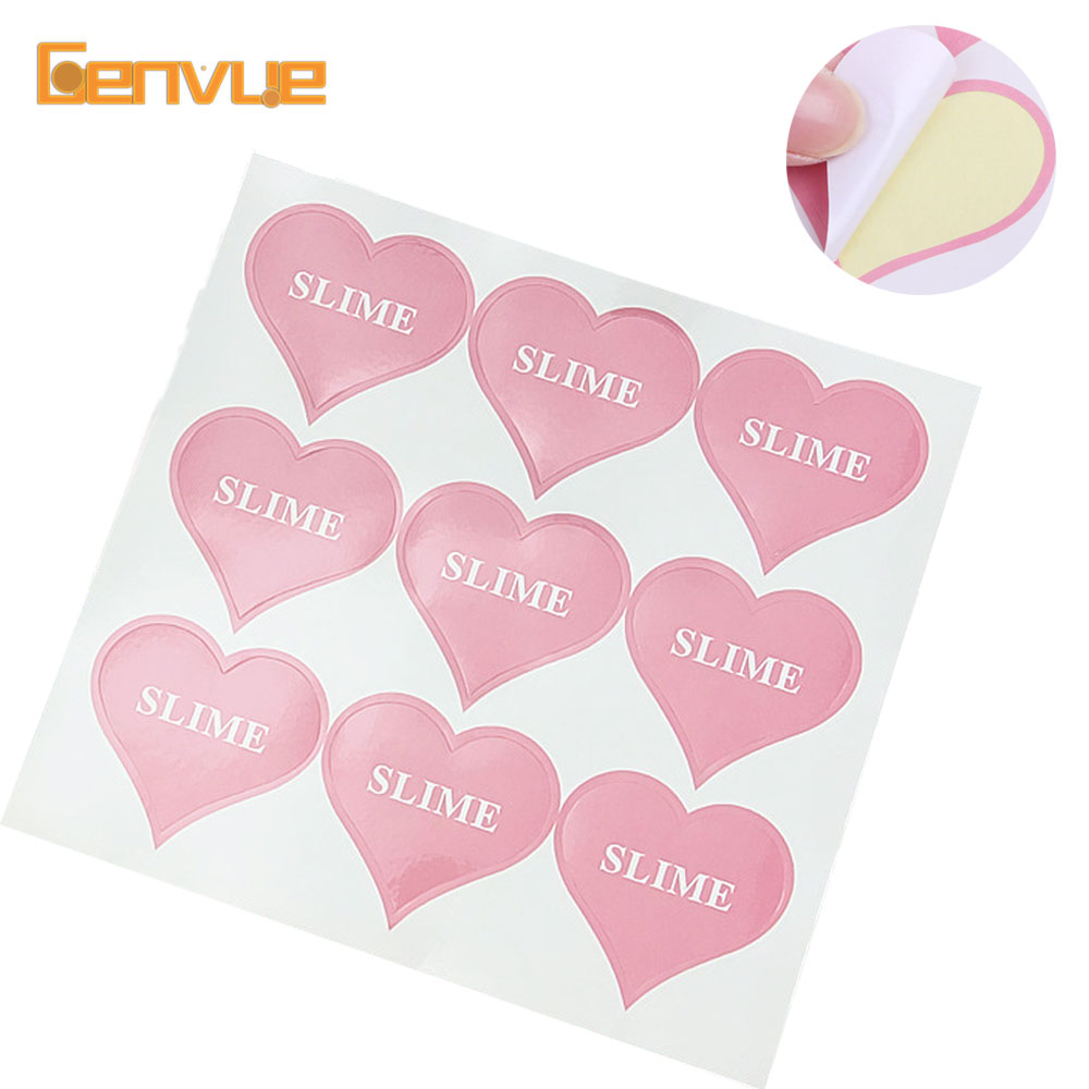 18pcs Heart Shape Sticker Glitter For Slime Containers Storage Box Slime Supplies Decor Sticker DIY Slime Accessories Gifts