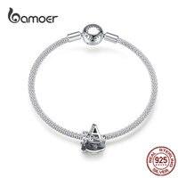 bamoer Name Jewelry Letter A Charm Bracelet Silver 925 Alphabet Metal Beads Female Fashion DIY Jewelry Making SCB829