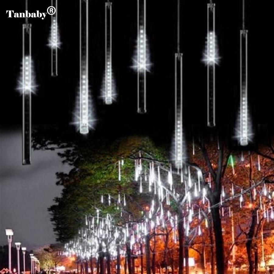 2pcs / lot 30cm 8 Tube Meteor Dushi Tuba shiut Dëbora LED për dritën e Krishtlindjeve për Shën Valentinin e Krishtlindjeve Pema e Dekorimit Kopsht