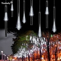 2pcs/lot 30cm 8 Tube Meteor Shower Rain Tube Snowfall LED Light For Christmas Valentine Holiday Tree Garden Decoration
