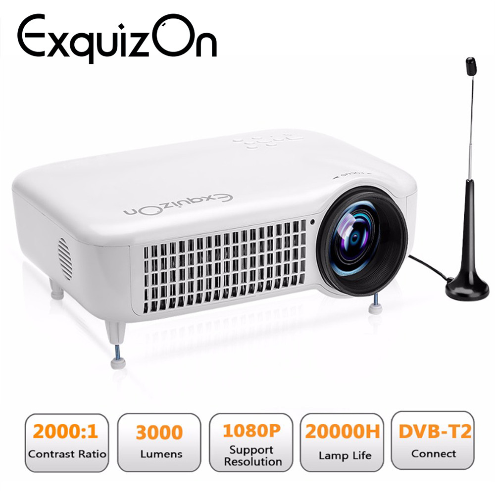 Caiwei Home Use Dvb T2 Projector Led Lcd Digital Tv: Exquizon 5018D 3000Lumens LED Video Home Projector Support