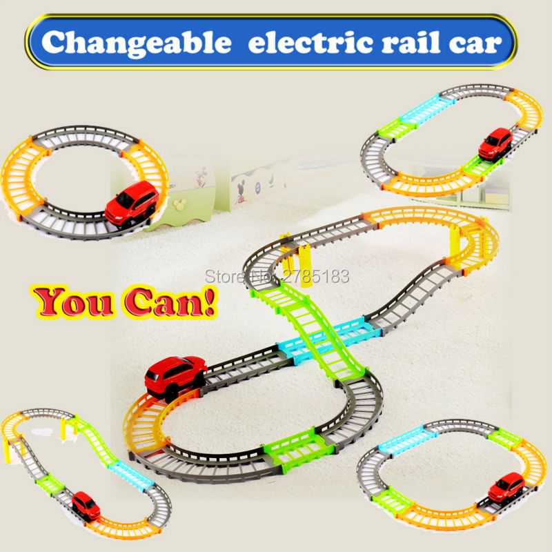 changeable electric rail car kids train track model slot toy baby racing car slot car track educational toys building sets