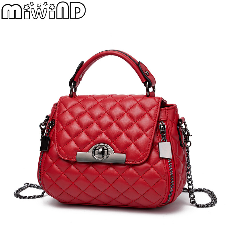 MIWIND 2017 New Messenger Bag 100% Genuine Leather Women Handbag Diamond Lattice Sheepskin Chain Female Small Shoulder Bags women shoulder bag cossbody handbag genuine first layer of cow leather 2017 korean diamond lattice chain women messenger bag
