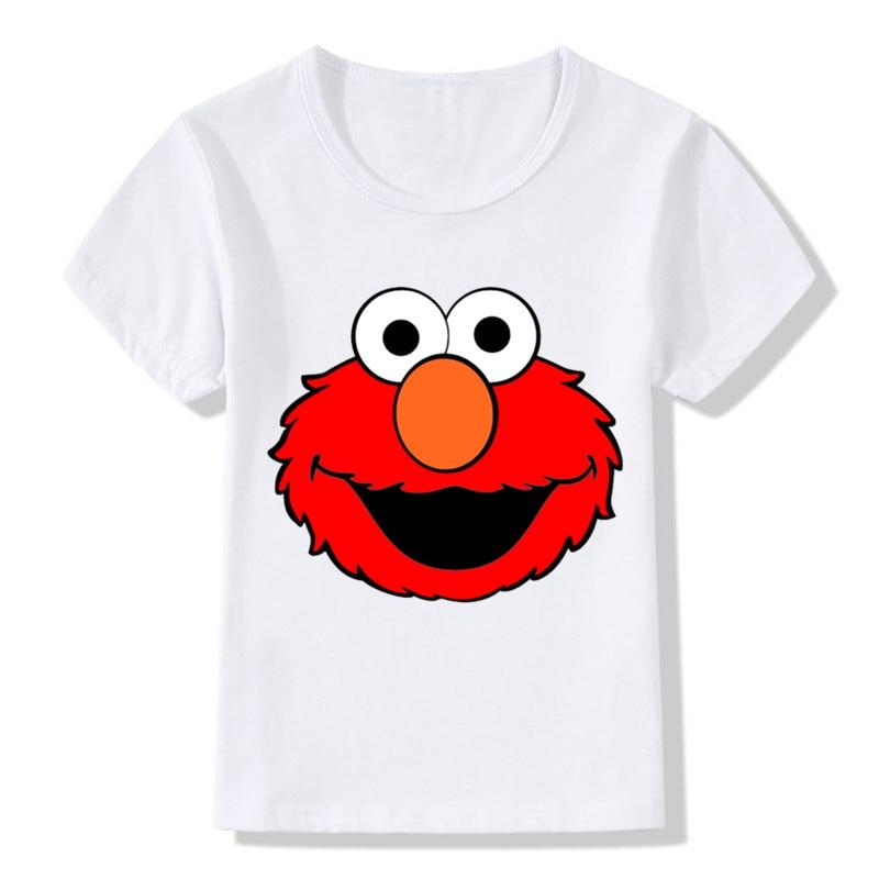 2-14 Years Children Sesame Street Elmo Print Funny T Shirt Baby Girls Cartoon Summer Tops Kids Great Casual Clothes, Ooo2413