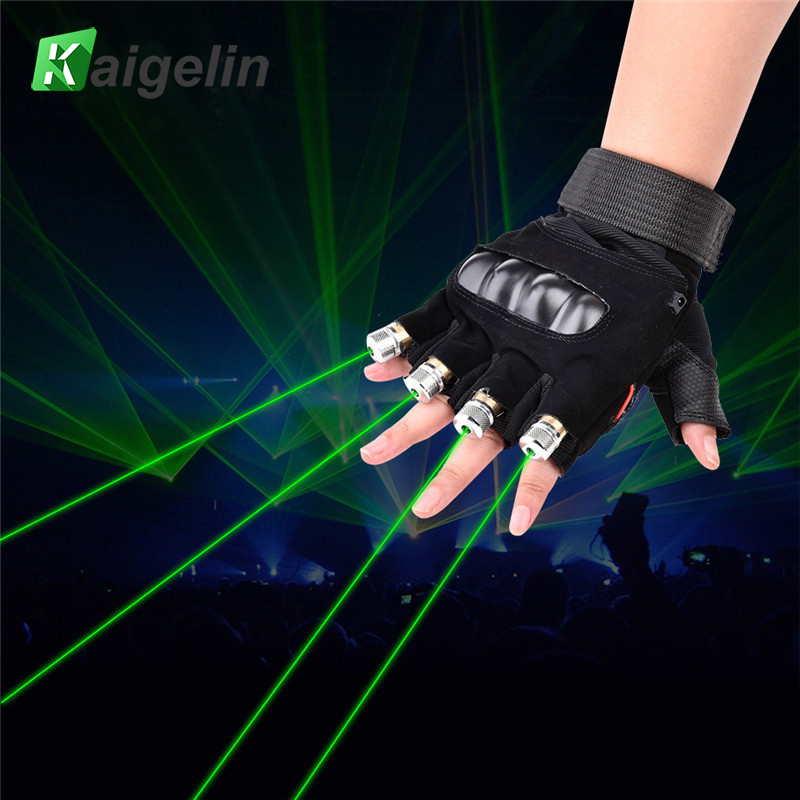Novedad LED guantes láser verde rojo bombilla LED con batería baile guantes láser para la música Disco de partido iluminación