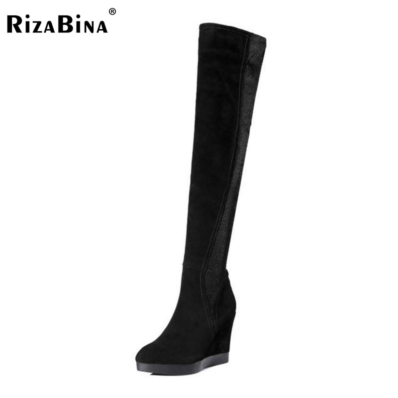RizaBina Women Real Leather High Heel Wedges Winter Boots Women Over Knee Boots With Warm Fur Inside Elastic Shoes Size 34-39 pritivimin fn81 winter warm women real wool fur lined shoes ladies genuine leather high boot girl fashion over the knee boots