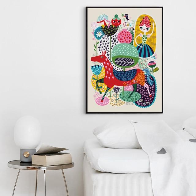 Elegant Poetry Simple Cartoon Animals Colorful World Canvas  3
