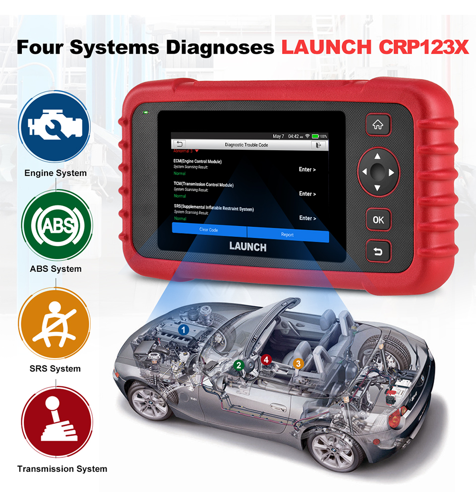 Image 2 - LAUNCH X431 CRP123X OBD2 Scanner Auto Code Reader OBDII Diagnostic Tool ENG AT ABS SRS Launch Scanner Car Automotive Tool crp123 on