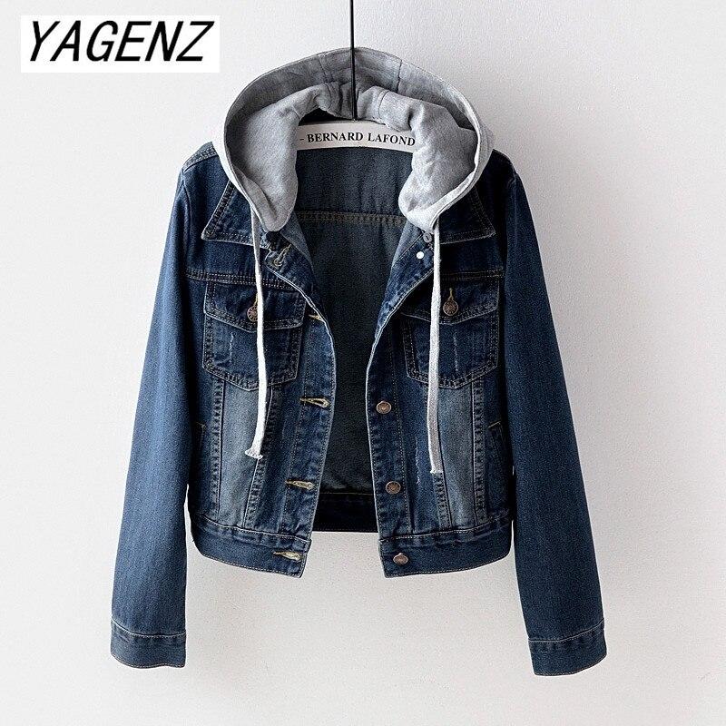 Large size Denim Short Coats 2019 Spring Autumn Vintage denim top Slim Detachable Hooded Jacket Casual Female Jeans Jacket 5XL