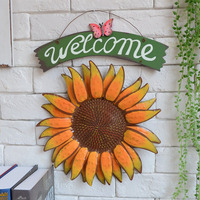 Free Shipping! Big Size Sunfower Welcome Door Board Wall Hanger Welcome Plaques Home & Shop Decor Home Deocration Metal Craft