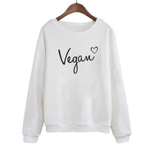 Casaul Long Sleeve Crew Neck Hoodies Black White Pullover Streetwear Clothing Vegan Heart Bella Women Sweatshirt