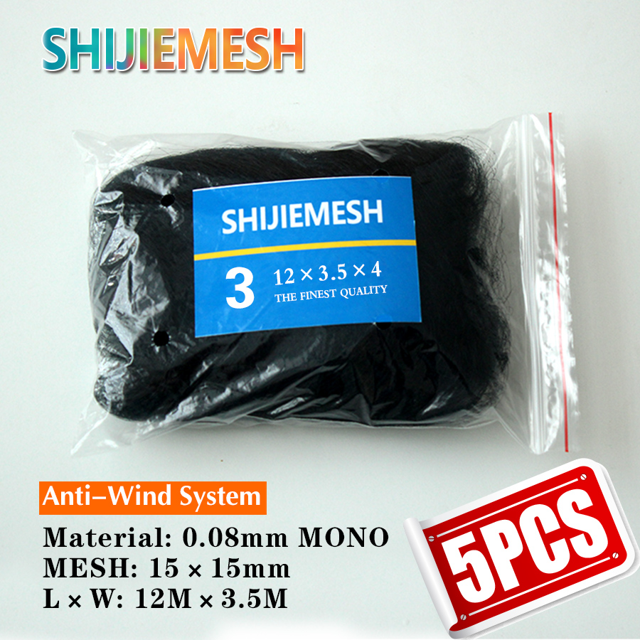 High Quality Deep Huge Pockets Nylon Monofilament 0.08mm 12M X 3.5M 15mm Hole Orchard Garden Anti Bird Net Knotted Mist Net 5pcs