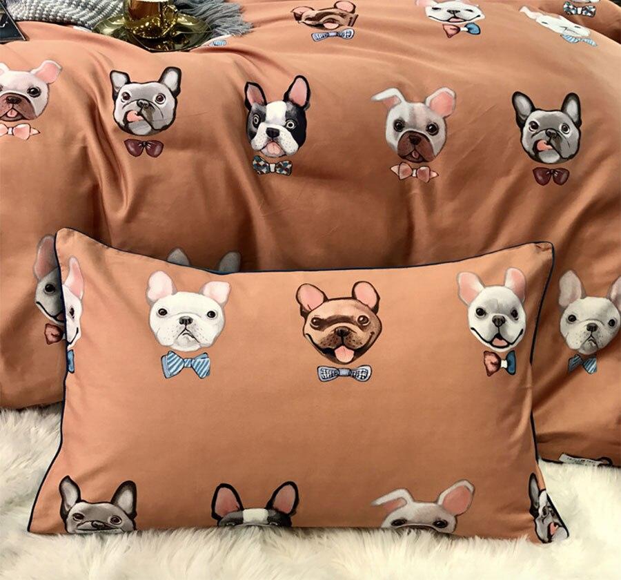 Belle bande dessinée chien ensemble de literie adolescent enfant, reine roi coton vintage double literie lit feuille taie d'oreiller housse de couette
