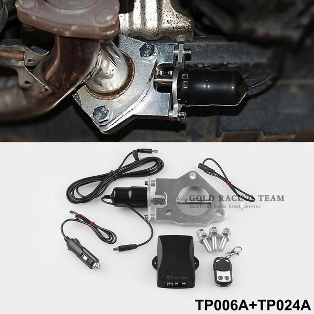 """2 """"/2.25""""/2.5 """"/3"""" Roestvrij Elektrische Uitlaat Downpipe Uitsparing Valve Motor Kit Met draadloze Afstandsbediening 12ft Kabelboom Kit"""