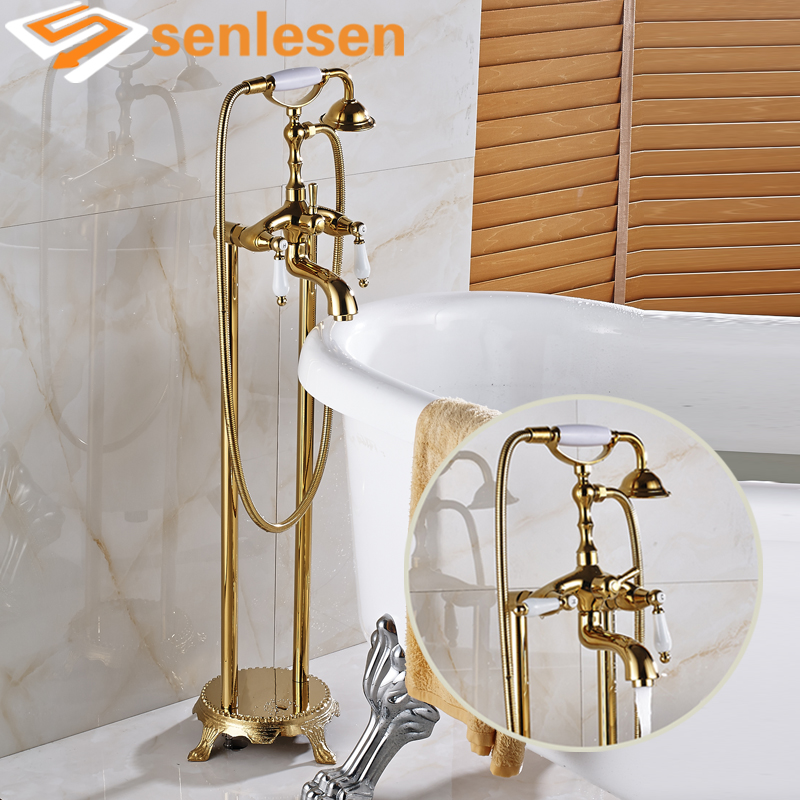 Wholesale and Retail Gold Finish Floor Mounted Tub Mixer Faucet with Ceramic Handle Shower Faucet